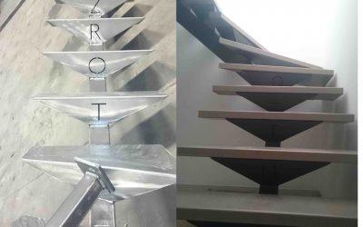 Escalier métallique avec limon central